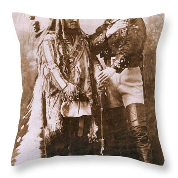 Sitting Bull And Buffalo Bill Throw Pillow by Unknown