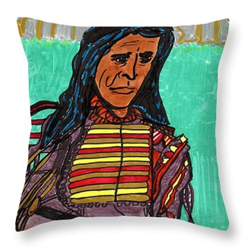 Throw Pillow featuring the drawing Sitting Bull by Don Koester