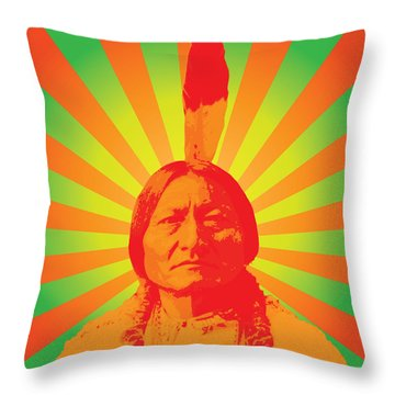 Sitting Bull Throw Pillow by Gary Grayson