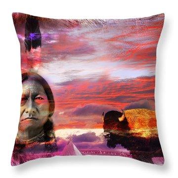 Sitting Bull Throw Pillow by Mal Bray
