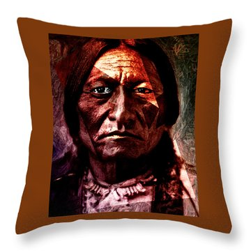 Sitting Bull - Warrior - Medicine Man Throw Pillow by Hartmut Jager