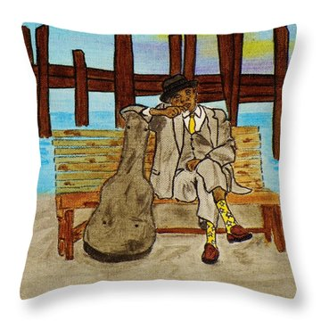 Sitting On The Dock Of The Bay Throw Pillow by Celeste Manning