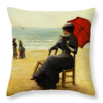 Sitting By The Sea Throw Pillow by Edouard Bisson