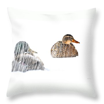 Sitting Ducks In A Blizzard Throw Pillow by Bob Orsillo