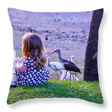Sitting Girl With Ducks Throw Pillow