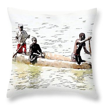 Sitting In The Boat Throw Pillow