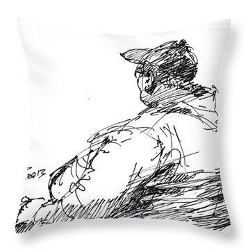 Sitting Man Throw Pillow