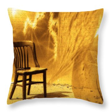 Sitting On Edge Throw Pillow by Cathy  Beharriell