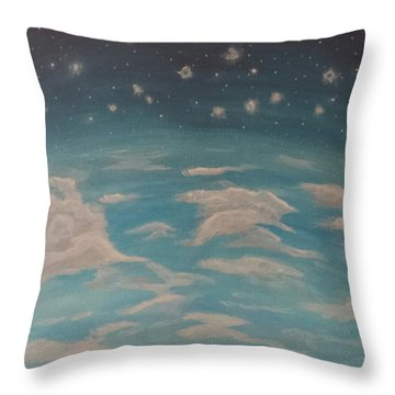 Throw Pillow featuring the painting Sitting On Top Of The World by Thomasina Durkay