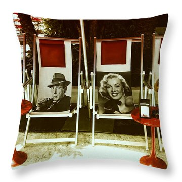 Throw Pillow featuring the photograph Sitting With Movie Stars by Gary Dean Mercer Clark