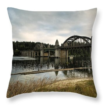 Siuslaw River Bridge Throw Pillow