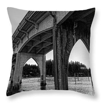 Siuslaw River Bridge Portrait Throw Pillow