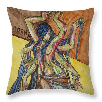 Six Armed Goddess Throw Pillow by Stormm Bradshaw