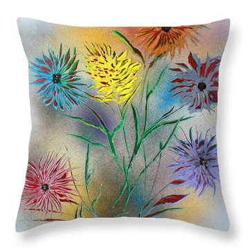 Throw Pillow featuring the painting Six Flowers by Greg Moores