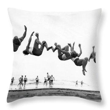 Six Men Doing Beach Flips Throw Pillow