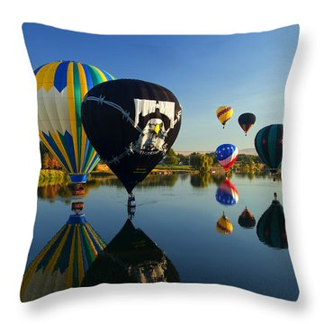 Six On The Pond Throw Pillow by Mike  Dawson