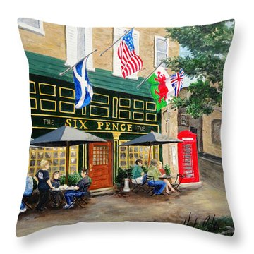 Six Pence Pub Throw Pillow
