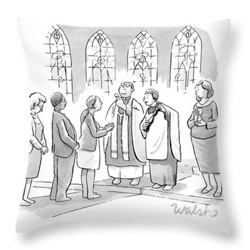 Six People In Church Throw Pillow