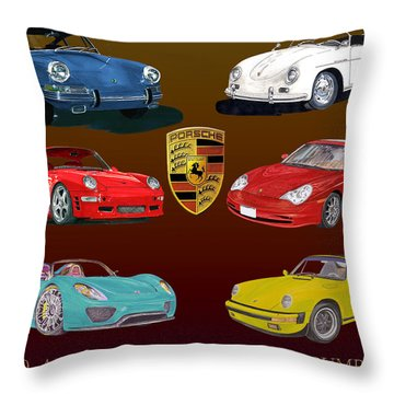 Six Sexy Slippery Porsche Automobiles Throw Pillow