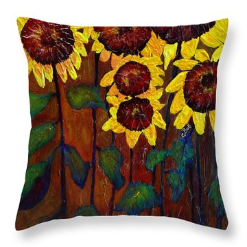Six Sunflowers Throw Pillow by Claire Bull