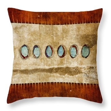 Six Turquoise Moons Throw Pillow