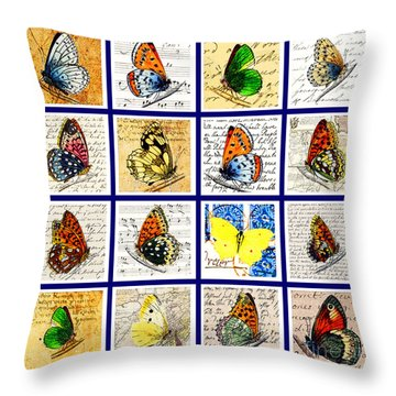 Sixteen Butterflies Throw Pillow