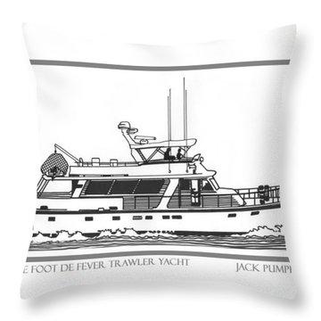 Sixtyfive Foot Defever Trawler Yacht Throw Pillow by Jack Pumphrey