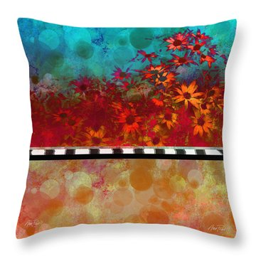 Sizzle Abstract Floral Art Throw Pillow by Ann Powell