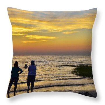 Skaket Beach Sunset 4 Throw Pillow by Allen Beatty