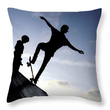 Skateboarders Throw Pillow by Fabrizio Troiani