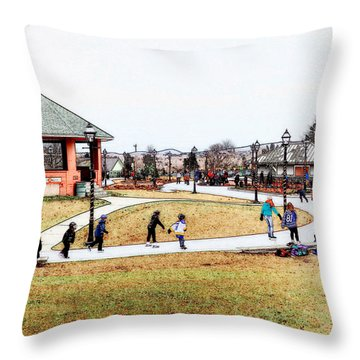 Throw Pillow featuring the photograph Skating At Bannerman Park by Zinvolle Art