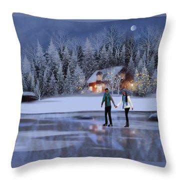 Skating At Christmas Night Throw Pillow