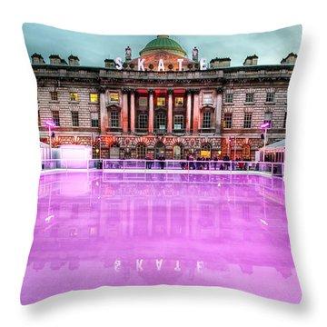 Skating At Somerset House Throw Pillow by Jasna Buncic