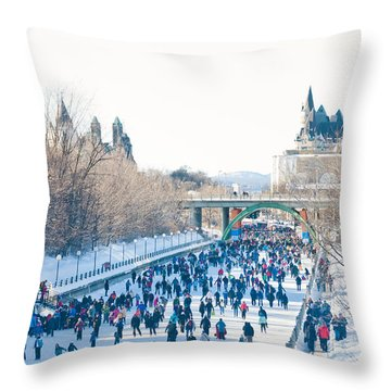 Skating Throw Pillow by Cheryl Baxter