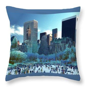 Skating Fantasy Wollman Rink New York City Throw Pillow by Tom Wurl