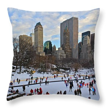Skating In Central Park Throw Pillow