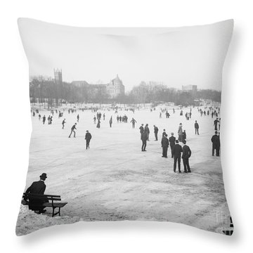 Skating In Central Park Throw Pillow by Anonymous