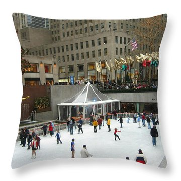 Skating In Rockefeller Center Throw Pillow by Judith Morris