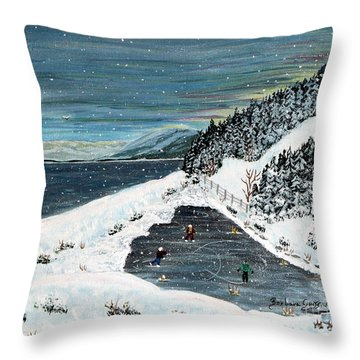 Skating On Pond Garden Throw Pillow by Barbara Griffin