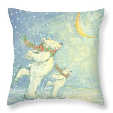 Skating Polar Bears Throw Pillow