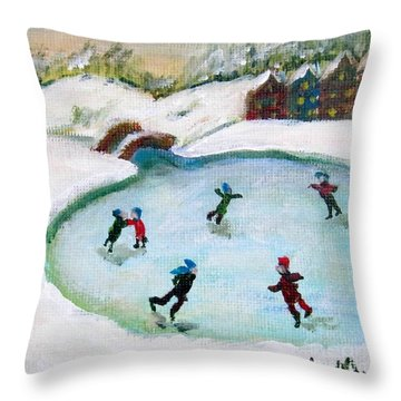 Skating Pond Throw Pillow by Laurie Morgan