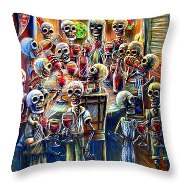 Skeleton Wine Party Throw Pillow by Heather Calderon