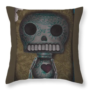 Skelly With A Heart Throw Pillow