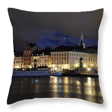 Skeppsbron At Night Throw Pillow by Jeremy Voisey