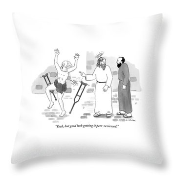 Skeptical Monk Tells An Angel Who Throw Pillow