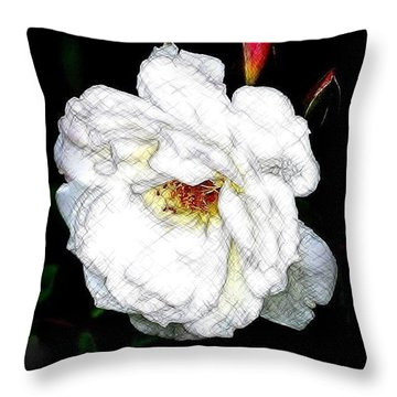 Sketch A Rose Throw Pillow