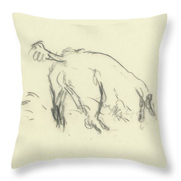 Sketch Of A Dog Digging A Hole Throw Pillow