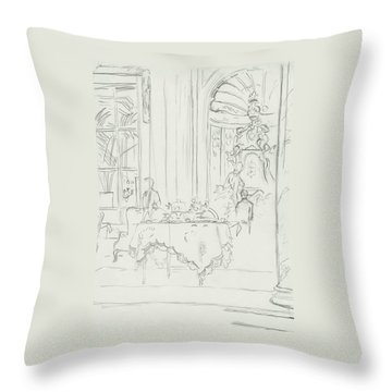 Sketch Of A Formal Dining Room Throw Pillow