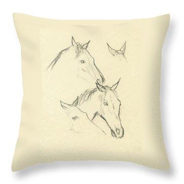 Sketch Of A Horse Head Throw Pillow