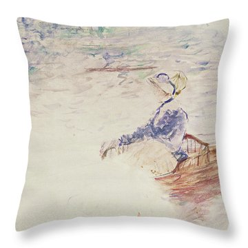 Sketch Of A Young Woman In A Boat Throw Pillow by Berthe Morisot